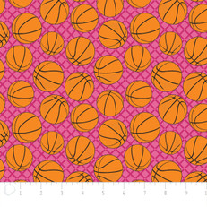 Basketballs Pink Flannel by Camelot