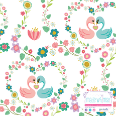 Swan Love Knit Fabric by Made Whimsy