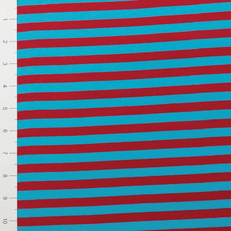 "3/8"" Turquoise & Red Yarn Dyed Stripe by Made Whimsy"