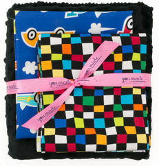 Grand Prix Blue Race Car Baby Blanket Bundle