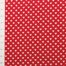 White Hearts on Red Lightweight Knit Fabric