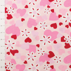 Pink & Red Heart Light Weight Knit Fabric