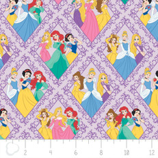 Disney Princess Diamonds Purple by Camelot Fabrics