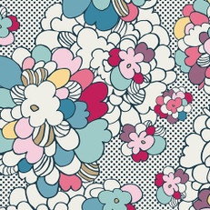 Pop Art Springblossom Knit Fabric by Art Gallery