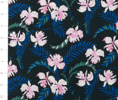 Hibiscus and Palm Leaves on Black Knit Fabric