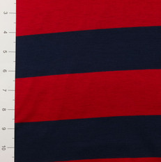 "2.25"" Red and Blue Yarn Dyed Stripe Light Weight Knit"