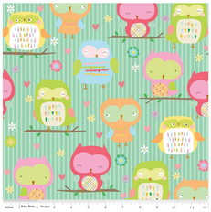 Owls Main Teal Flannel by Riley Blake