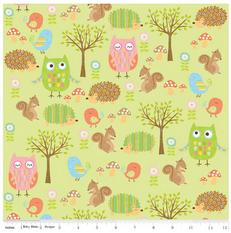 Owl Friends Green Flannel by Riley Blake
