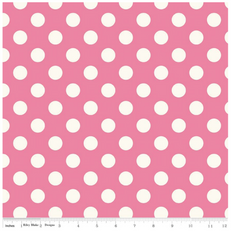 Medium Off White Dot on Hot Pink Duck Canvas by Riley Blake
