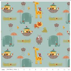 Giraffe 2 Teal Knit by Riley Blake