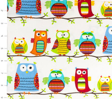Hootenanny Organic Owls White by Timeless Treasures