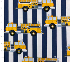 Fire Station Yellow Firetrucks by Robert Kaufman