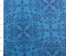Nellie Hill Folk Blue Folk Floral by Ella Blue