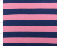 "Knit 1"" Stripe Hot Pink and Navy by Riley Blake"