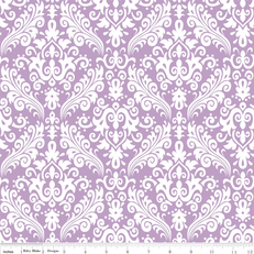 Hollywood Damask Medium White on Lavender by Riley Blake