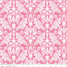 Hollywood Sparkle Damask White on Hot Pink by Riley Blake