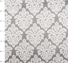Damask Silky Satin Charcoal/White
