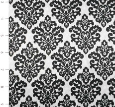 Damask Silky Satin Snow/Black