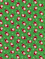 Mini Santas Green Flannel by Timeless Treasures