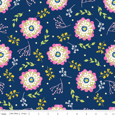 Floriography Floral Blue Laminate by Riley Blake