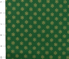Metallic Christmas Green with Gold Snowflakes
