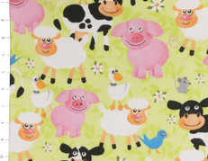 Light Green Farm Animal Cuddle Flannel by Fabri Quilt