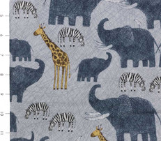 Amboseli Tossed Elephants, Zebras, Giraffes on Grey by Quilting Treasures