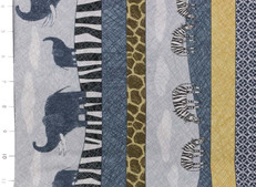 Amboseli Running Stripe with Elephants and Zebras by Quilting Treasures