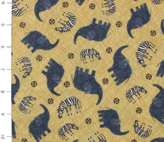 Amboseli Tossed Elephants, Zebras, Giraffes on Yellow by Quilting Treasures