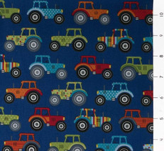 Jolly Farm Tractors on Blue by Andover