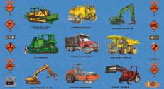Construction Equipment Blue Double Border by Clothworks
