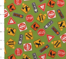 Construction Signs Green by Clothworks