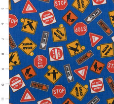 Construction Signs Blue by Clothworks