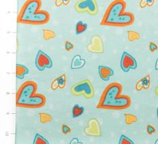 Owl Wonderful Heart Blue Flannel by Wilmington