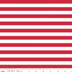 Knit Half Inch Stripe Red by Riley Blake