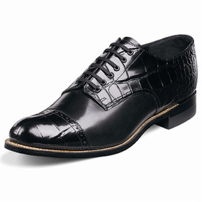 Men's Madison Cap Toe Crocodile - Black