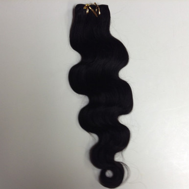100% Indian Human Hair Extension Weft, 100g,  Natural Black - Wavy