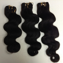 "3pcs Bundle 14"", 16"", 18"" Indian Human Hair Wefts Wavy"