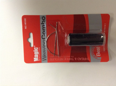 Black Thread and 3 Needles for Weaving and Hair Extensions
