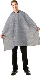 """Betty Dain Striped Barber Cloth Water Resistant Snap Closure 45""""x60"""" White/Black"""