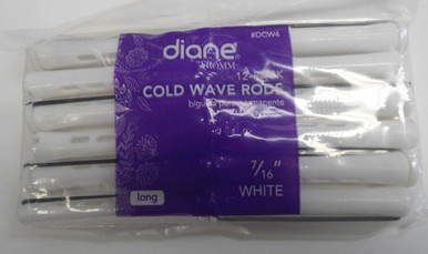 "Diane 7/16"" Cold Wave Rods Curlers Hair Perm #DCW4 12-Pack - White - Long"