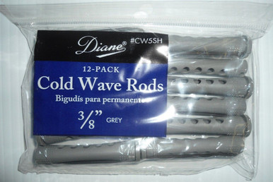 "Diane 3/8"" Cold Wave Rods Curlers Hair Perm #CW5SH 12-Pack - Grey - Short"