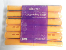 "Diane 3/4"" Cold Wave Rods Curlers Hair Perm #DCW1 12-Pack - Tangerine"