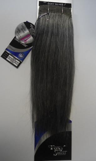 "Foxy Silver 12"" Salt n' Pepper Human Hair Straight Weave Track Grey Color 51"