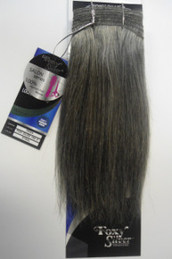 "Foxy Silver 12"" Salt n' Pepper Human Hair Straight Weave Grey Color 51"