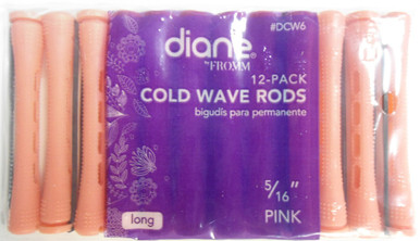 "Diane 5/16"" Cold Wave Rods Curlers Hair Perm #DCW6 12-Pack - Pink - Long"