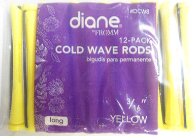 """Diane 3/16"""" Cold Wave Rods Curlers Hair Perm #DCW8 12-Pack Yellow, Long"""
