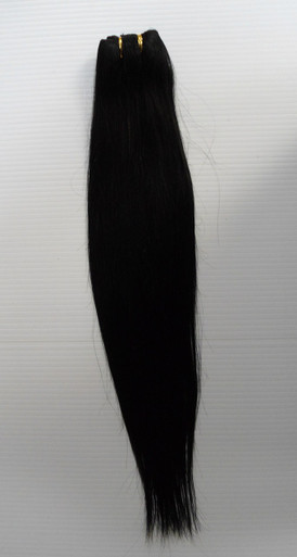 "18"" Brazilian Human Hair Extension Weft, 100g,  Natural Black - Straight"