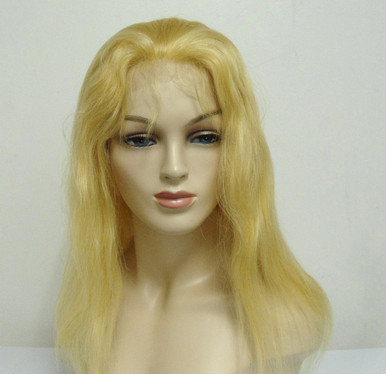 "16"" Full Lace Wig Remy Human Hair Straight #613 Blonde Medium Cap"