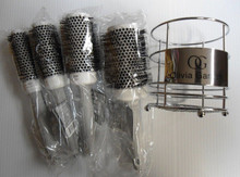 Olivia Garden Ceramic Ion Thermal Brush 4 Brushes Kit with Carry-on Basket